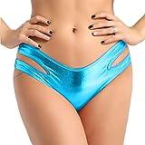 ACSUSS Women's Shiny Metallic Strappy Cutout Hipster Panties Low Rise Bikini Bottoms Light Blue One Size