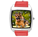 TAPORT® Reloj de cuarzo rojo correa de cuero cuadrado con pastor alemán
