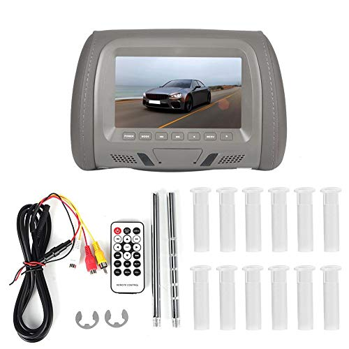 Qiilu 12V Universal 7in Auto Car Headrest Monitor MP5 Video Media Player High Definition(Gray)