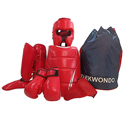 JXS Boxen Trainingsgeräte 6-teiliges Set-Sanda Karate Schutz - Fuß-Schutzausrüstung für den Kampfsport, Sparring, BJJ, Karate,Rot,140~165cm