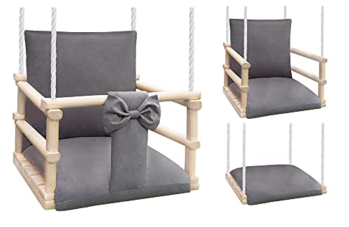 NATILU® Babyschaukel Kinderschaukel Holz, Schaukel für Kinder Garten Indoor Outdoor - EN 71 und CE - Made in EU (WOOD)