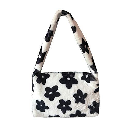 Hobo Bag Satchel Faux Fur Purse Flower Clutch Bag Furry Handbag Underarm Purse for Women (Flower)