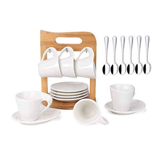 SOPRETY Espresso cup set of 6, Ceramic Coffee Tea Set, Porcelain Cup, Coffee mugs with Saucer Service Spoons and A Bamboo Cup Stand for Home Office, White