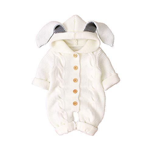 Haokaini Neugeborenes Baby Ohr Kapuze Gestrickte Strampler Overall Winter wärmer Schneeanzug für Jungen Mädchen (White 1, 3-6M)