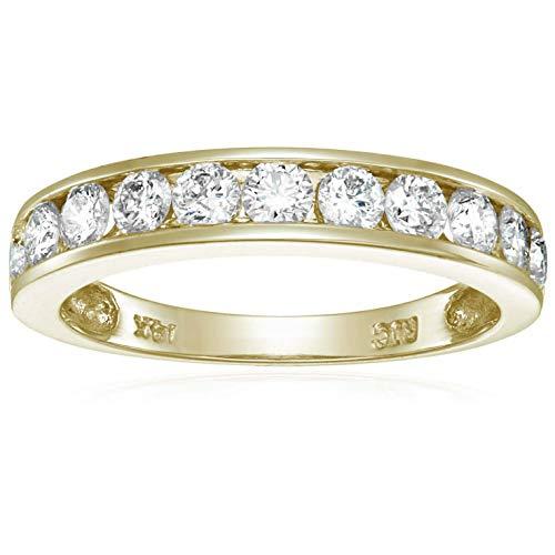 1 cttw Classic Diamond Wedding Band 14K Yellow Gold I1-I2 Channel Set Size 10