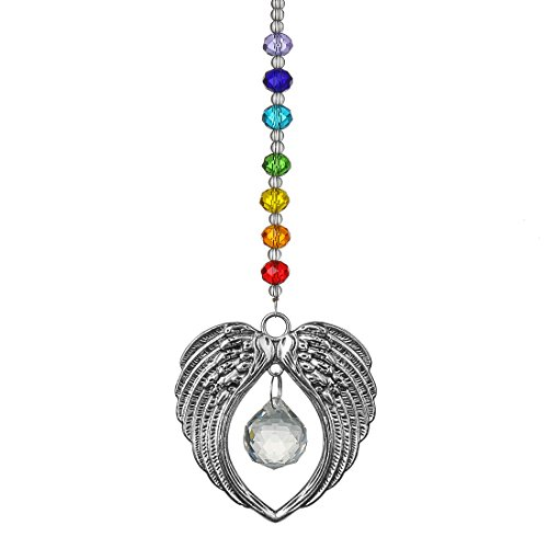 Chakra Angel Wing Pendant with Crystal Ball Rainbow Suncatcher Window Home Decor
