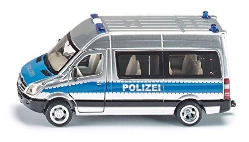 SIKU 2313, Polizei Mannschaftswagen, 1:50, Metall/Kunststoff, Silber/Blau, Öffenbare Türen