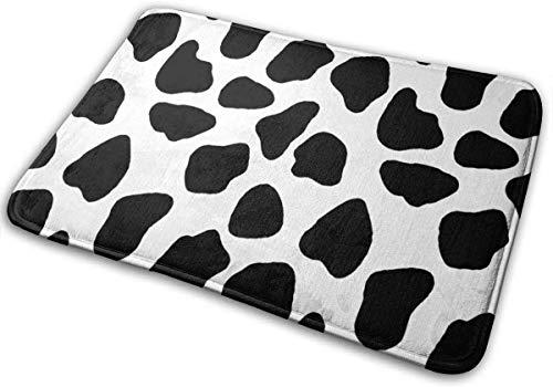 Alfombra de entrada personalizable con estampado de vaca leche, color negro, blanco, lavable, antideslizante, 40 x 60 cm
