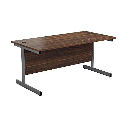 Office Hippo Heavy Duty Rectangular Cantilever Office Desk, 160 x 80 x 73 cm, Silver Frame, Dark Walnut Top