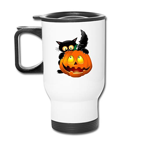 Halloween Clipart Pumpkin Carving Cat Reusable Stainless Steel Car Cup, Coffee Cup, Double Sided Printing with Handle