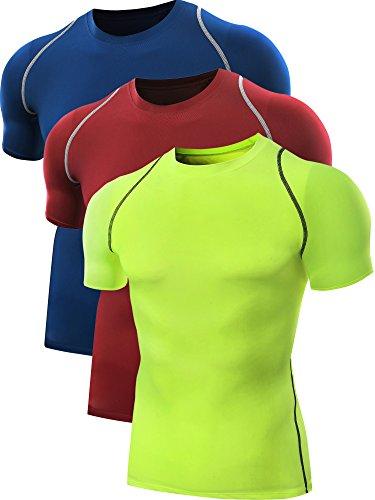 Neleus Men's Running Compression Shirts,5013,3 Pack,Blue,Red,Green,L,EU XL