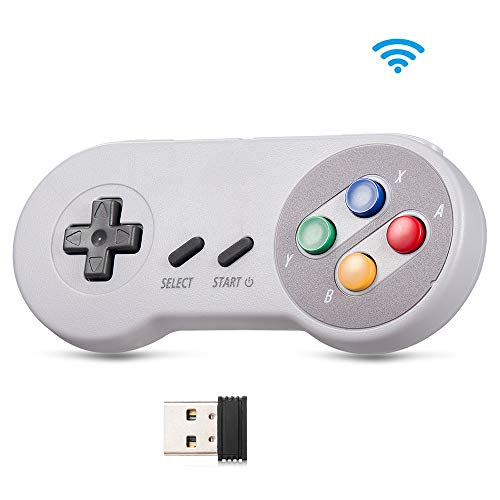 2.4GHz Wireless USB Controller for NES Retro Gaming,kiwitatá Rechargeable SNES Classic PC Game Pad Controller with USB Receiver for Windows PC MAC,Raspberry PI