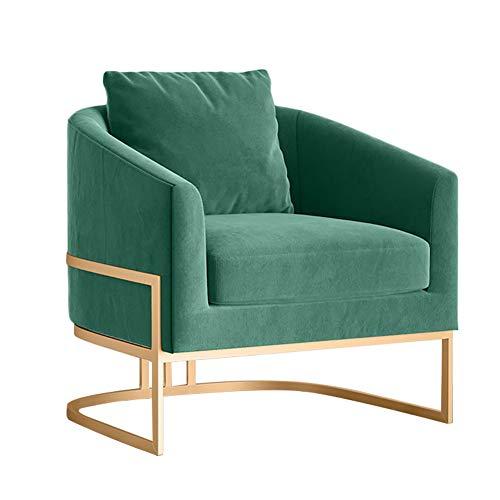 HUAYIN De Sala de Estar de Terciopelo, cómodo sofá tapizado Individual   Sillas de Club del Norte de Europa con Patas de Metal para Muebles de cafetería de recepción de Oficina,Verde