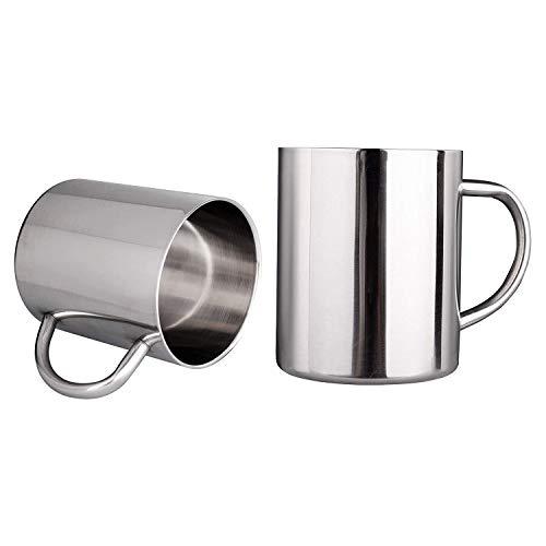 Kirmax 10Oz / 300Ml Tazas de Café de Doble Pared Tazas de Té de Acero Inoxidable Tazas para Acampar para NiiOs, Juego de 2