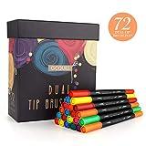 Bullet Journal - Juego de rotuladores de punta doble (0,4 mm, punta de fieltro), 72 unidades, color 72 colores