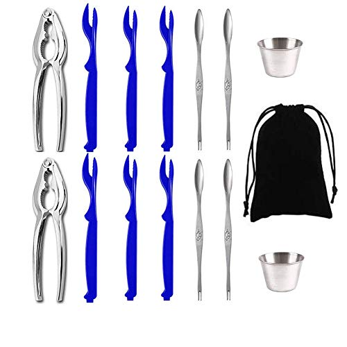 Lobster Crackers and Picks Set, Seafood Tools Set Crab Crackers Including 2 Lobster Crackers 6 Lobster Shellers 4 Seafood Forks and 2 Sauce Cups