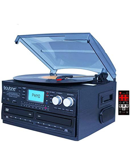 Boytone BT-29B, Bluetooth Dual CD Player and Recorder CD2 to CD1, AM/FM Radio Turntable Record Player 2 Built-in Stereo Speakers, Cassette Player, SD Slot, USB, AUX, Headphone Jack, Limited Edition