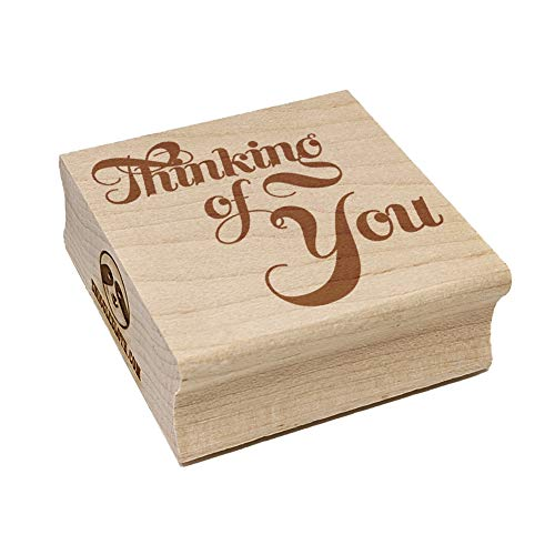 Thinking of You Elegant Text Square Rubber Stamp for Stamping Crafting - 2.75in Large