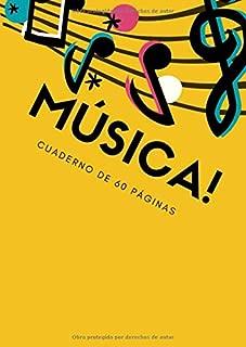 MUSICA! Cuaderno de 60 paginas: Bloc de pentagramas para piano, partitura para violín, partitura para canción o guitarra. 60 páginas. Tamaño A4: 21 x 29,7 cm (Spanish Edition)
