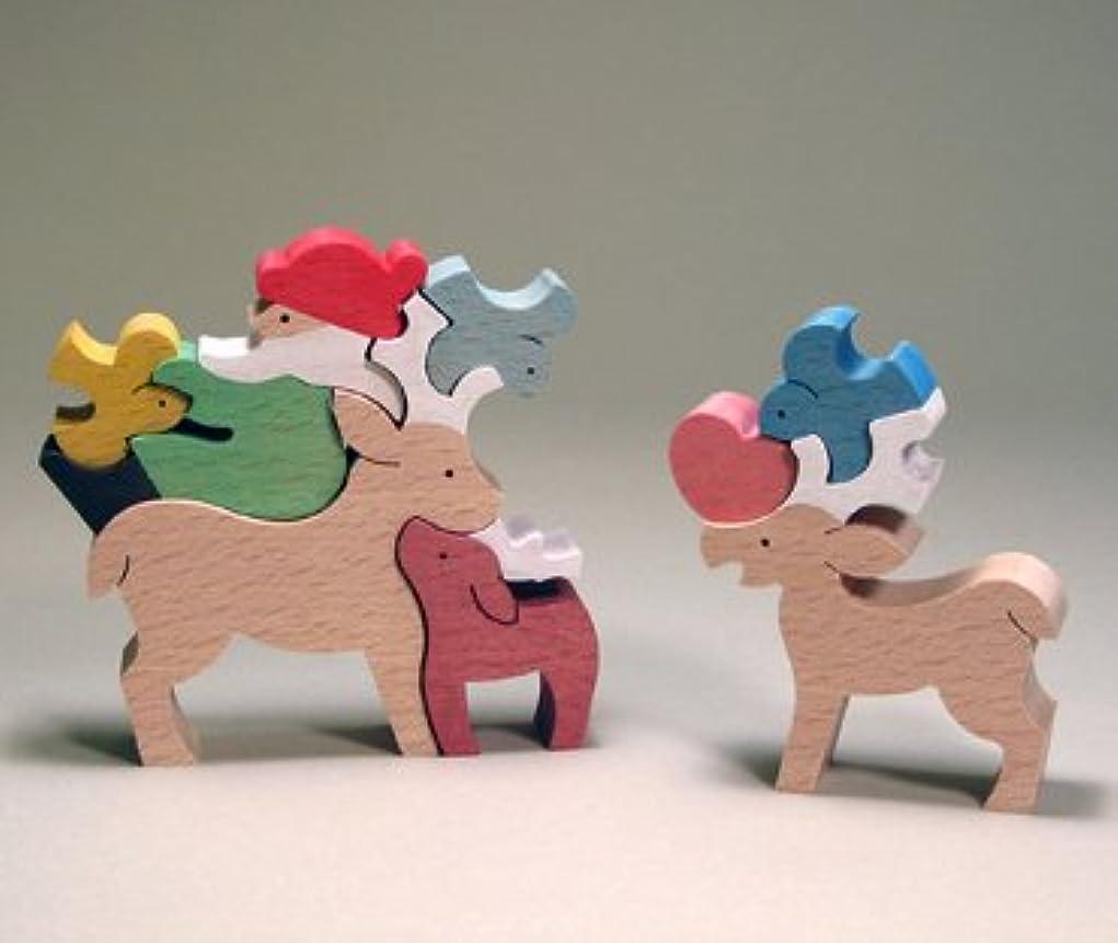 インポート代表する証言木のおもちゃ 小黒三郎 組み木 小鳥と遊ぶサンタとトナカイ S