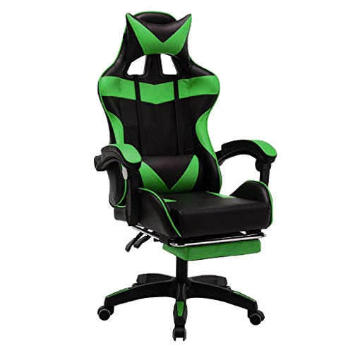 Cuoff Gaming Chair Racing Style Chair Reclining Chair with Lumbar Support Leather Computer Chair with Headrest & Footrest, for Entertainment, Office (Green)