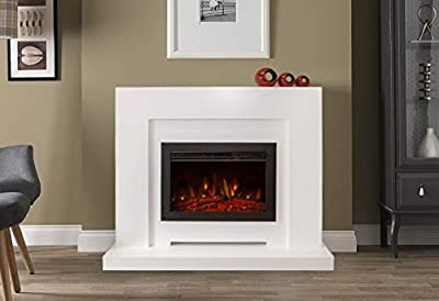 Electric Modern Contemporary Smooth White Surround LED Fireplace Suite Black Floating Fire 48""