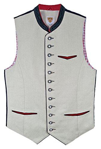 Maddox Chaleco de lino para traje regional – Beige – Chaleco tradicional para hombre para pantalones de piel Beige / gris claro. 52