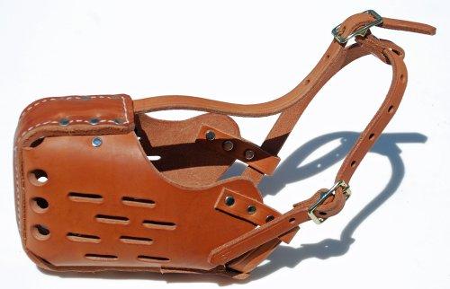 Signature K9 Standard Leather Muzzle, Large, Tan