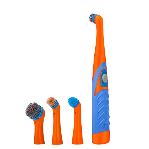 Rehomy Electric Cleaning Brush Oscillating Cleaning Brush Cordless Power Scrubber Brush Set 4 Brush Heads for Bathroom Kitchen Tub Tile Floor Wall(Blue and Orange)