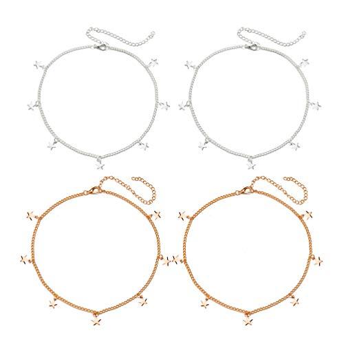 TENDYCOCO Collar de Cadena con Collar de Estrellas Boho Gargantilla Estrella Collares Delicados para Mujeres 4 Piezas