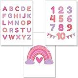 PREMYO Bilder Kinderzimmer Deko Mädchen - Alphabet ABC