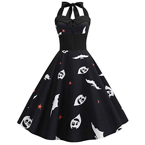 Damen Halloween Kleider Abendkleid Mode Neckholder Vintage Kürbis Muster ärmellose Slim ausgestattet High Waist Festival Karneval Party Swing Kleid Schwarz XXL