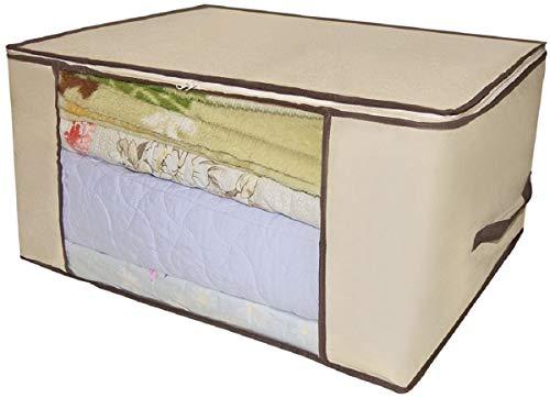 Organizador Tnt Caixa Closet Roupa Cama Edredom Toalha 60cm (Creme)