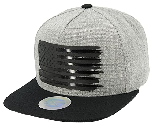 Flipper American Flag Flat Brim Bill Baseball Cap Snapback Hat for Men Women, Gray, Adjustable, Free Size, One size