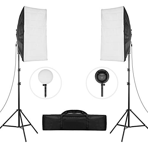 Andoer Softbox Beleuchtungs Set LED Softbox Lighting Kit 2pcs-20 * 28 Zoll Softboxen + 45W Bicolor-Temperatur 3200K / 5500K Dimmbare LED-Leuchten + 2 Meter...