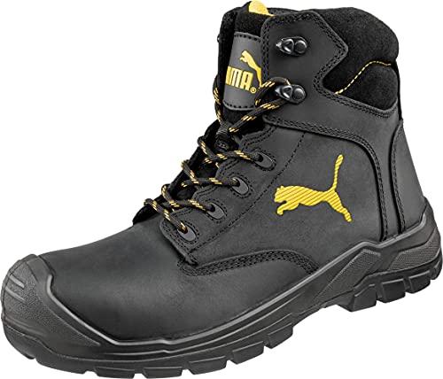 Puma Safety Shoes Borneo Black Mid S3 HRO SRC, Puma 630411-202 Unisex-Erwachsene Sicherheitsschuhe, Schwarz (schwarz/gelb 202), EU 45