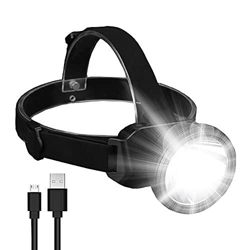 Linterna frontal recargable, portátil de 4 modos, proyector LED, superbrillante, ajustable de 90 grados, impermeable, faro para adultos, camping, caza, senderismo, correr, pesca