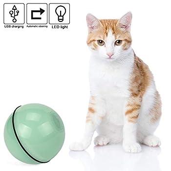 Vintoney Balle Lumineuse pour Chat Jouet Boule Rotative Automatique à 360 Degrés avec Lumière LED et Batterie Rechargeable USB Jouet Interactif Électrique pour Animaux Chats Chiots (Vert)