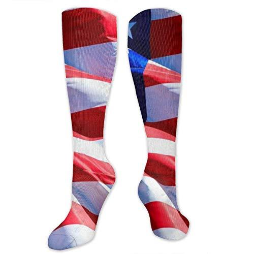NGMADOIAN Calcetín de compresión, calcetines largos de tubo largo hasta la rodilla con bandera estadounidense para correr, deportes atléticos de fútbol -50 cm