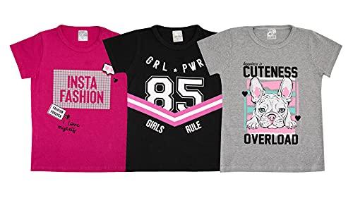 Kit Lote 5 Camisetas Blusa Manga Curta Infantil Menina Cor:Colorido;Tamanho:12