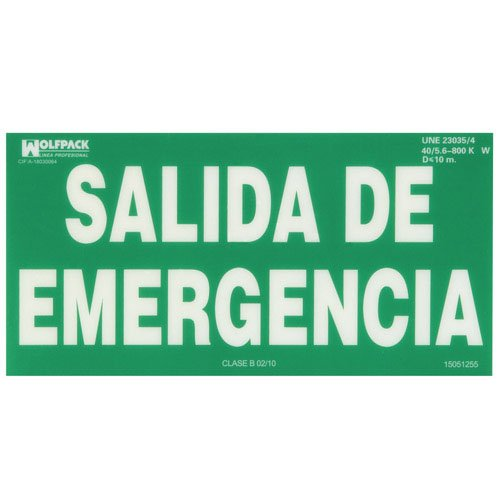 WOLFPACK LINEA PROFESIONAL Cartel Salida De Emergencia 15x30 cm.