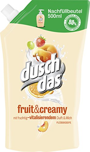 Duschdas Fruit und Creamy Flüssigseife, Nachfüllbeutel, 6er Pack (6 x 500 ml)