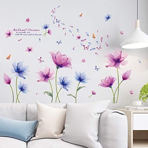 Adesivi murali piante fiore blu viola adesivi murali adesivi murali camera fiore decorazione parete camera soggiorno corridoio 120 x 100 cm