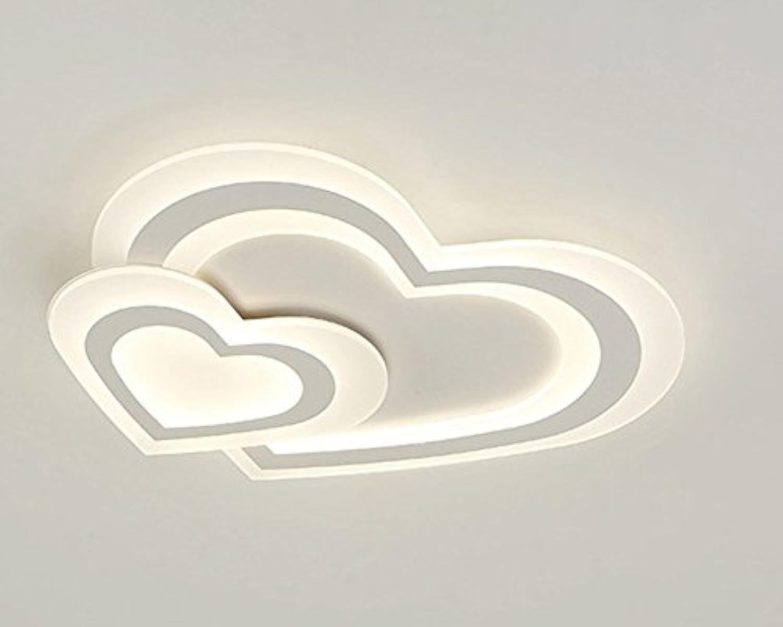 LED Einfach Deckenlampe Modern Acryl Metall Deckenleuchte Herz Kombination Design Decken Beleuchtung Dimmbar mit Fernbedienung für Schlafzimmer Kinderzimmer 52×H30CM 3000K6500K 48W