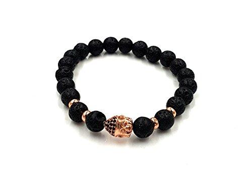 Exclusieve armband lavasteen, natuursteen, zwart, parels, hoogwaardige Boeddha-parelarmband, roségouden kop, roestvrij staal, onyx antieke kralen, armband, Lawa, rozegoud, zwart, karma, fashion vintage modesieraad