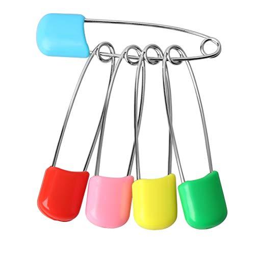 Kuou 100 Stück Windelnadeln, Kunststoffkopf, Sicherheitsnadeln halten Clip Verriegelung Lätzchen Windeln Pins für Baby Kind Kleinkinder Kinder Kinder