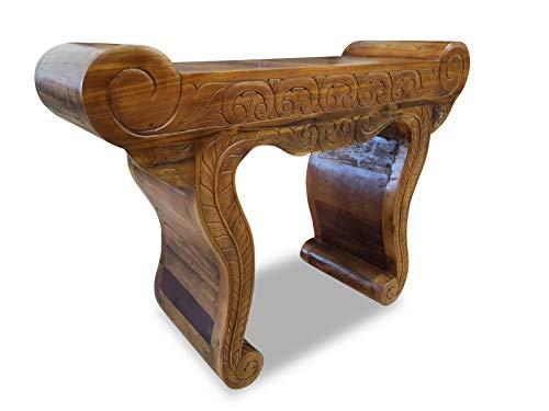 Teak Altholz Konsole MADA - 120 cm breiter Konsolentisch aus recyceltem Teakholz mit Schnitzereien in Front und Beinen