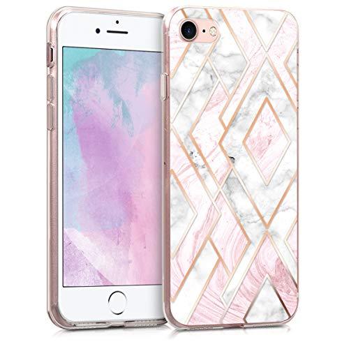 kwmobile Hülle kompatibel mit Apple iPhone 7/8 / SE (2020) - Handyhülle - Handy Case Glory Mix Marmor Rosegold Weiß Altrosa