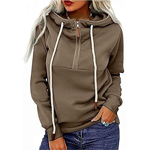 WangsCanis Blusa de manga larga con capucha para mujer, con cremallera, sudadera con cordón, chaqueta con bolsillos, tallas grandes, con cremallera, Caqui., S