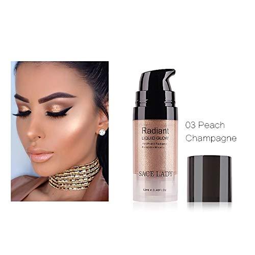 Hilai 1Bottle Face Glow Resaltador líquido Iluminador Iluminador líquido maquillaje facial en crema brillo base y corrector ultraconcentrado (03 Peach Champagne)